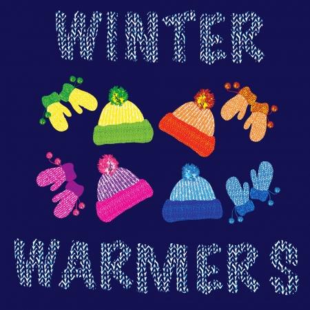 the mittens: Gorros de lana de punto y los pares de guantes a juego en varios colores. EPS10 formato vectorial. Vectores
