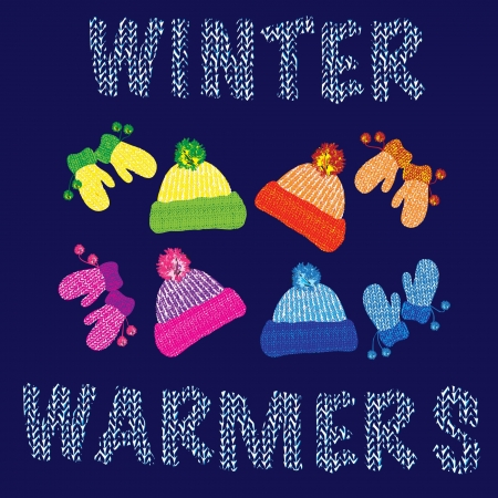 yarns: Knitted woolly hats and matching pairs of mittens in various colours. EPS10 vector format.