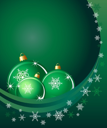 Christmas baubles on abstract background with snowflakes. Space for your text. EPS10 vector format. Illustration