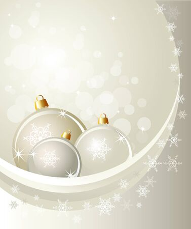Christmas baubles on abstract background with snowflakes. Space for your text. EPS10 vector format. Stock Vector - 10481419