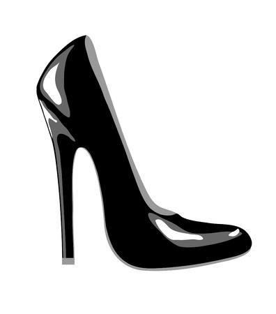 Un zapato de tacón alto Tribunal negro para negocio o partido desgaste. Aislado en blanco. Formato vectorial EPS10.