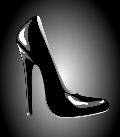 A high-heeled black court shoe for business or party wear.  EPS10 vector format. Vector