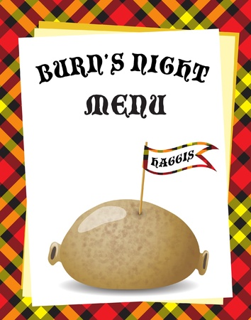 burns: A menu template for a Burns Night dinner. Traditional haggis on Tartan background. EPS10 vector format.