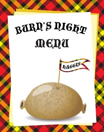 """Un modèle de menu pour le dîner """"Nuit Burn 'une. Haggis traditionnel sur fond de tartan. EPS10 format vectoriel."""