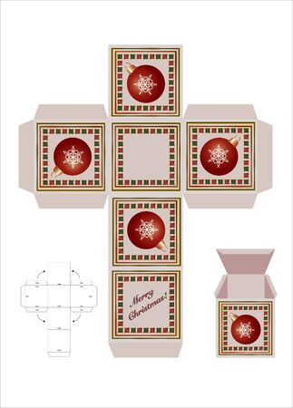 A Christmas gift box cut-out template met montage-instructies. EPS10 vector-formaat. Stock Illustratie