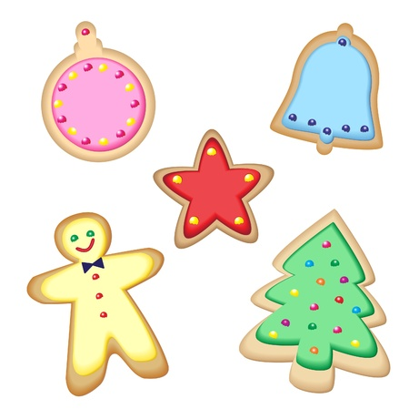 Iced Christmas cookies isolated on white. EPS10 vector format. Stock Vector - 10481459