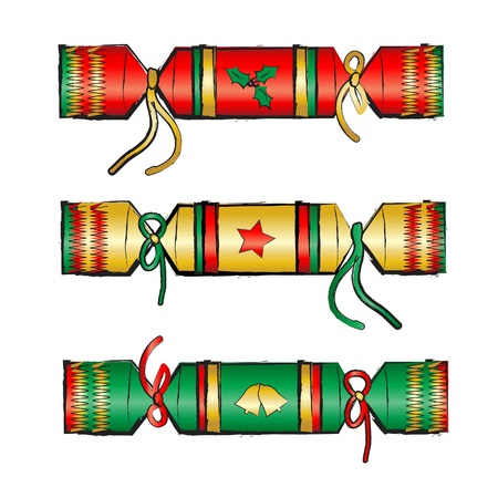 Christmas crackers isolated on white. Sketch style. EPS10 vector format.