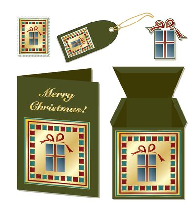 A set of Christmas stationery with card, gift box, stamp, sticker and tag. EPS10 vector format Vector