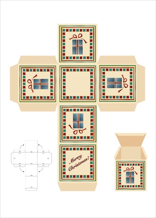 A Christmas gift box cut-out template with assembly instructions. EPS10 vector format.