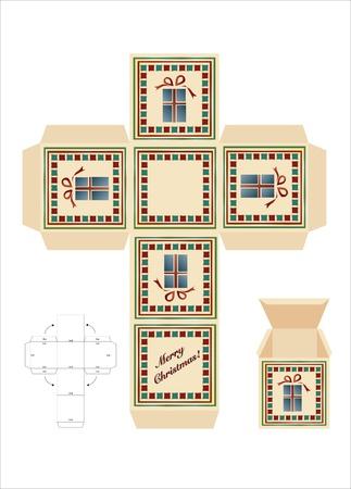 Un cadeau de Noël boîte de coupe-modèle avec des instructions d'assemblage. EPS10 format vectoriel.