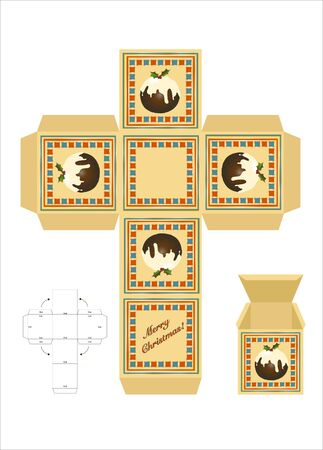 box template: A Christmas gift box cut-out template with assembly instructions. EPS10 vector format.