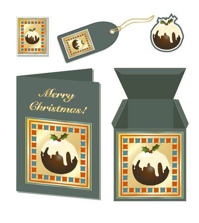 christmas pudding: A set of Christmas stationery with card, gift box, stamp, sticker and tag. EPS10 vector format Illustration