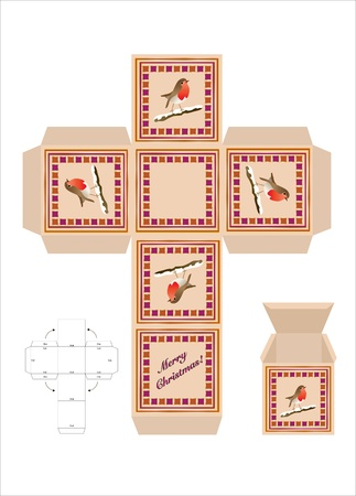 A Christmas gift box cut-out template with assembly instructions. EPS10 vector format. Stock Vector - 10481453