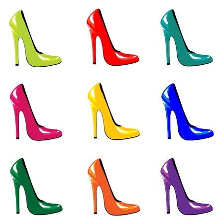 high: A vector illustraion of bright, high-heel shoes isolated on white. EPS10 vector format. Illustration