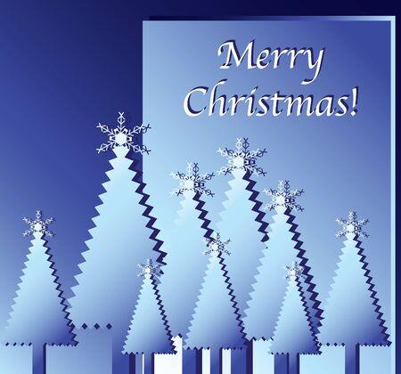 salumi affettati: Buon Natale, auguri. Paper cut-out alberi di Natale contro blu. EPS10 formato vettoriale.