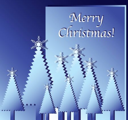 fiambres: Desea Feliz Navidad. Árboles de Navidad de papel recortado contra azul. Formato vectorial EPS10.