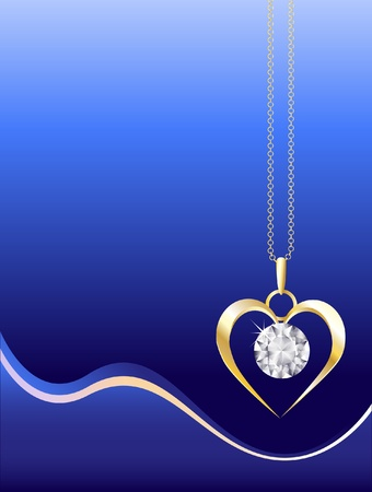 Un collar de oro y diamante sobre fondo azul abstracta. Espacio para el texto. Formato vectorial EPS10.