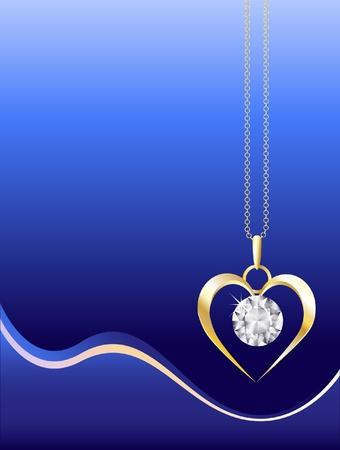 Een gouden en diamanten halsketting op abstracte blauwe achtergrond. Ruimte voor uw tekst. EPS10 vector-formaat.