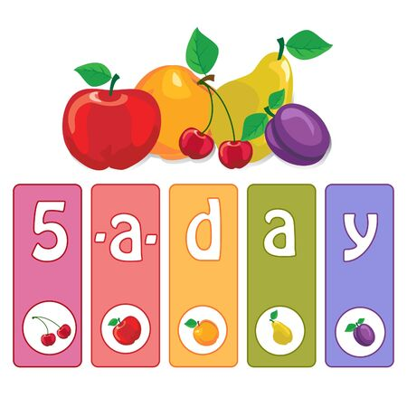 Five-a-day fruit posterconcept to encourage healthy eating. Vector