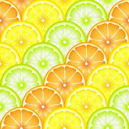 A seamless backround of sliced oranges, lemons and limes. EPS10 vector format Vector