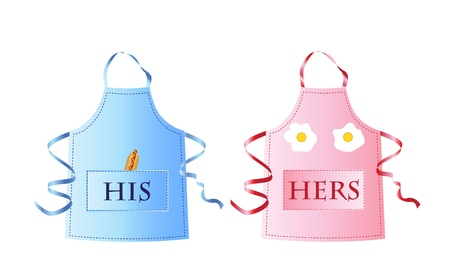 Fun his and hers aprons with food items representing male and female body parts. EPS10 vector format Vector
