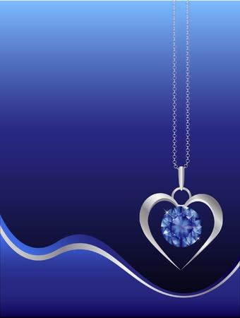 saffier: Een saffier en zilveren halsketting op abstrat achtergrond. Ruimte voor tekst. EPS10 vector-formaat.