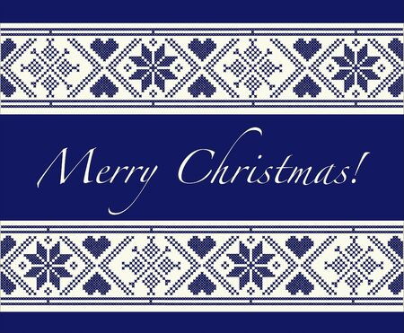 Merry Christmas Christmas card with Scandinavian style cross-stitch. EPS10 vector format. Fully editable for insersion of your own  Illustration