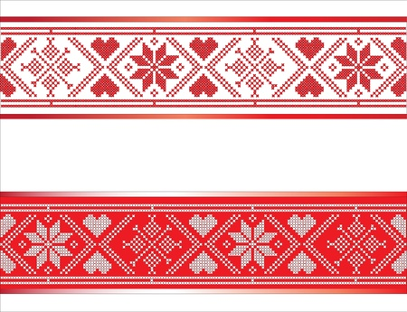 handicrafts: Festive Scandinavian style ribbons with hearts and snowflakes. Traditional red and white design with space for text. EPS10 vector format.