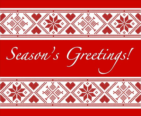 scandinavian christmas: Seasons Greetings Christmas card with Scandinavian style cross-stitch. EPS10 vector format. Fully editable for insersion of your own text.