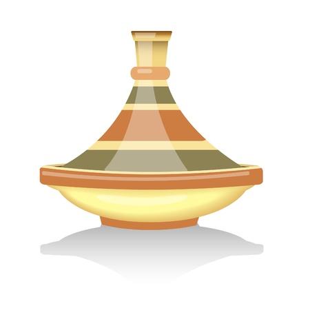 застекленный: Традиционный марокканский тажин. EPS10 векторный формат.
