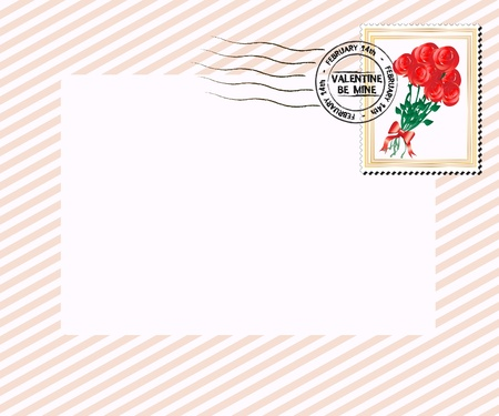 A Valentines Day letter, postmarked for February 14th with bouquet of red roses stamp. Space for your text. EPS10 vector format.