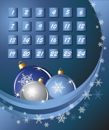 An Advent calender. Blue abstract background with Christmas Baubles and snowflakes. EPS10 vector format. Illustration