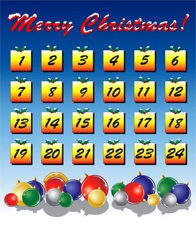 An Advent calendar, Christmas baubles on bright background. EPS10 vector format. Vector