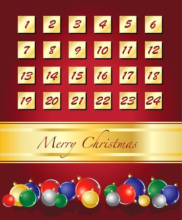 An elegent Advent calendar, Christmas baubles on red with gold ribbon. EPS10 vector format. Vector