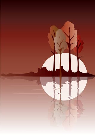 Trees reflected on water. Autumn colours with space for your text. EPS10 vector format. Vector