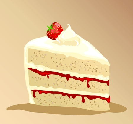 A slice of rich strawberry gateau with fresh whipped cream. EPS10 vector format. Vector