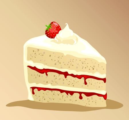 gateau: Una fetta della ricca torta di fragole con panna fresca. EPS10 formato vettoriale.