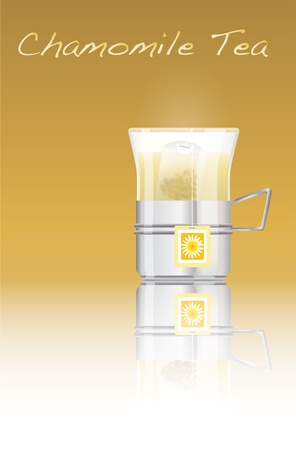 chamomile tea: A glass of hot chamomile tea. EPS10 vector format. Fully editable with space for your text