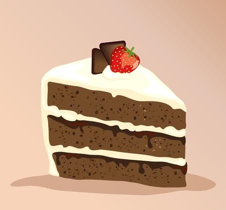 Een stuk van witte en donkere chocolade cake met een aardbei bovenop. EPS10 vector-formaat.
