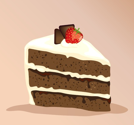 Kromka białego i ciemne ciasto czekoladowe z truskawek na górze. Eps10 vector format. Ilustracje wektorowe