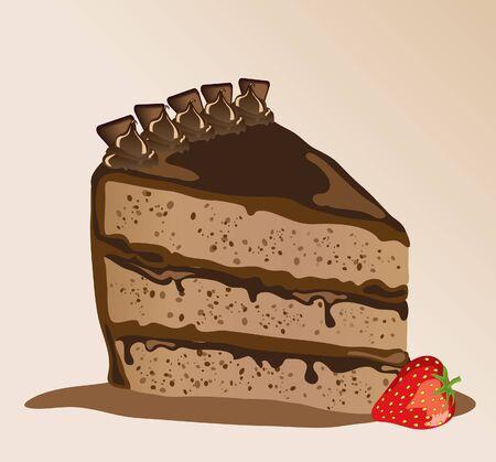 Een stuk chocolade taart met een aardbei. EPS10 vector-formaat.