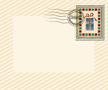 """happy new year stamp: Un estilo vintage de Navidad con sello de """"Feliz Navidad, 25 de diciembre marca 'post. EPS10 formato vectorial con espacio para el texto. Vectores"""