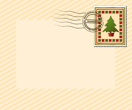A vintage style Christmas stamp with Merry Christmas, December 25th post mark. EPS10 vector format with space for your text. Vector