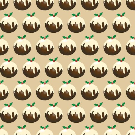 A seamless design of Christmas puddings with brandy butter. EPS10 vector format. Illustration