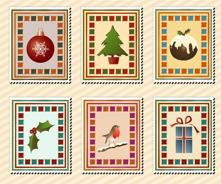 A set of vintage Christmas stamps. EPS10 vector format. Vector