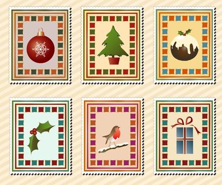 happy new year stamp: Una serie de sellos de Navidad vintage. Formato vectorial EPS10. Vectores