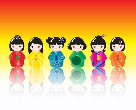 A row of brigtly colured Kokeshi dolls with reflections. EPS10 vector format Vector