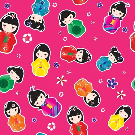 A seamless background of Kokeshi dolls. EPS10 vector format. Stock Vector - 10588295