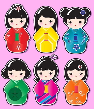 Kokeshi doll stickers in various designs on pink background. EPS10 in vector format.