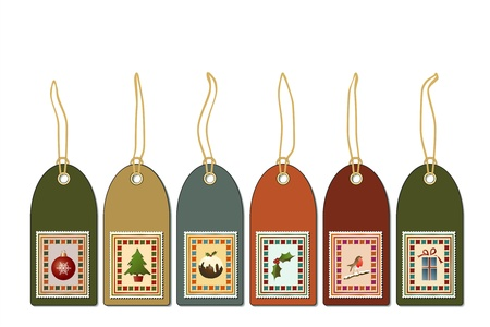 Christmas gift tags with postage stamp icons. Vintage style EPS10 vector format. Vector Illustration